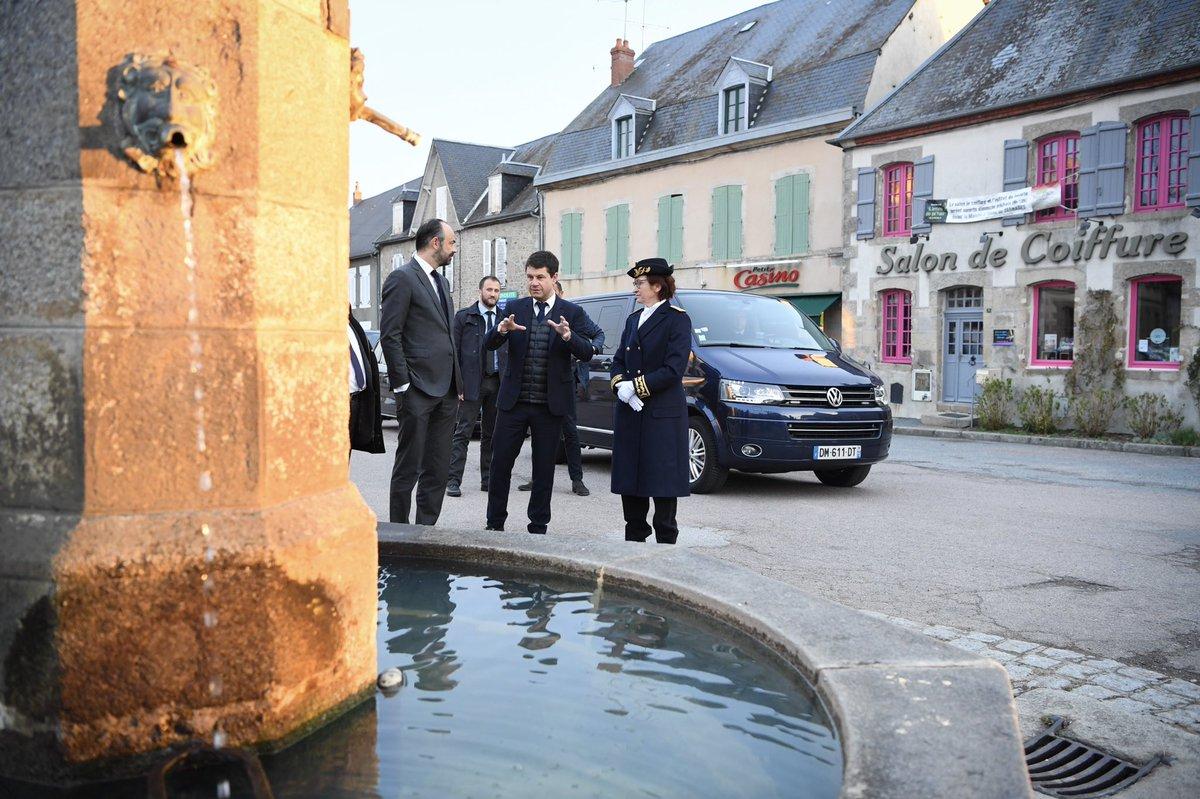 Début de matinée avec les commerçants de Jarnages avant de signer le Plan Particulier pour la Creuse.
