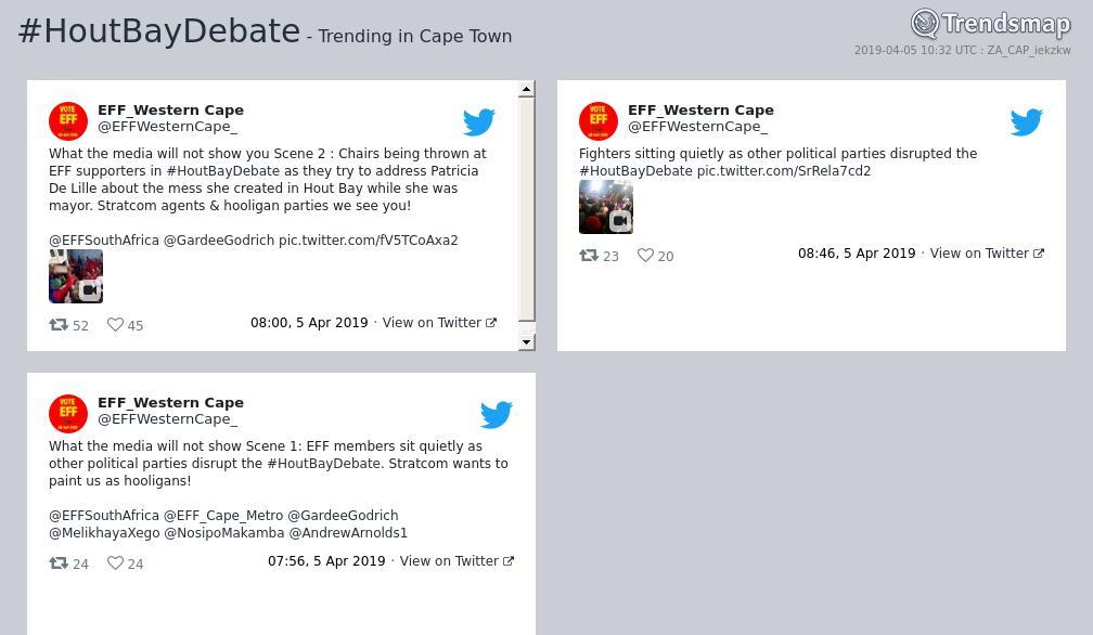 Hashtag #houtbaydebate sur Twitter