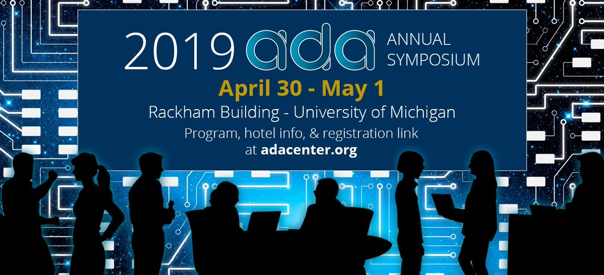 Reminder: don't forget to book your hotel for the Annual Symposium! Book the Residence Inn by tomorrow (4/6) or the Graduate before Monday (4/8) for the discounted rate.  Visit our website for more details: http://adacenter.org/