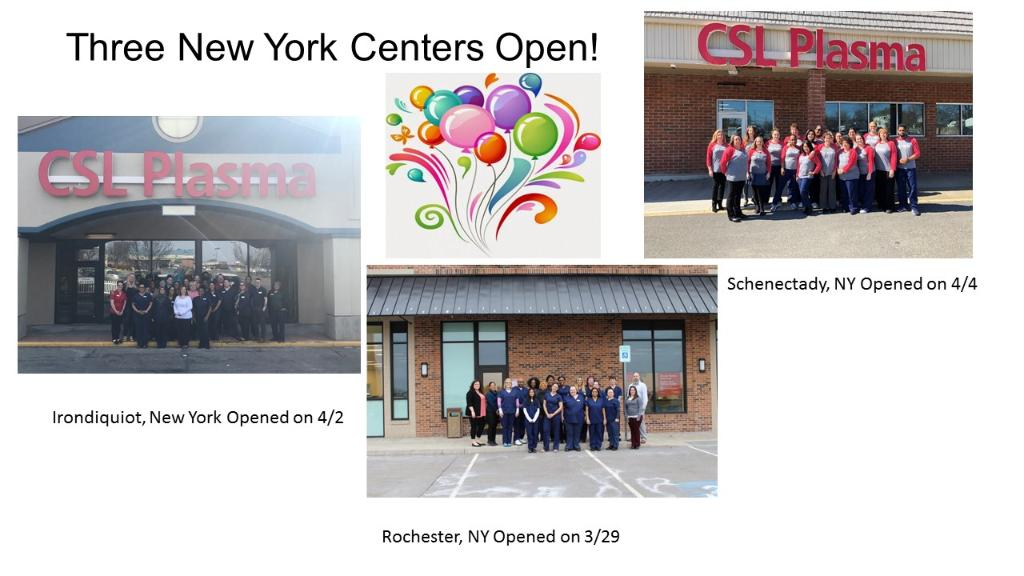 CSL Plasma opens three centers in one week in New York! We