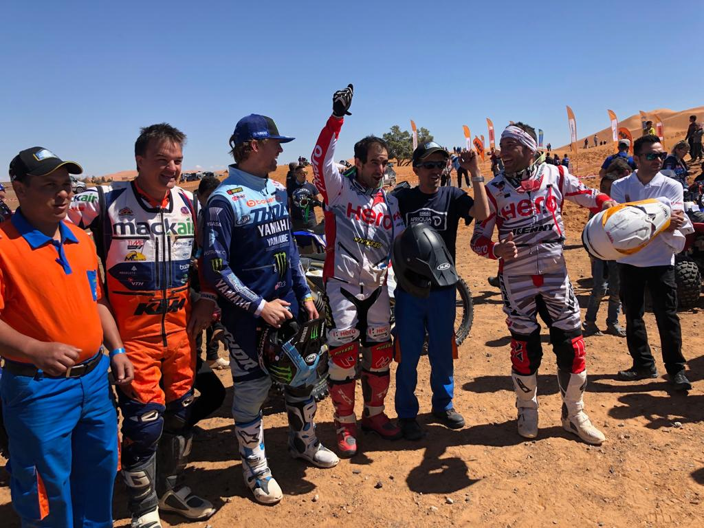 Limits? Raced yet again! With a 3rd place  finish, Oriol Mena  bagged his first ever podium in rally sport since his debut in 2017. Joaquim Rodrigues  finished 4th position, recording best performance till date in the rally sport. #Merzouga2019 #RaceTheLimits @MerzougaRally<br>http://pic.twitter.com/tHoZfEFyzf