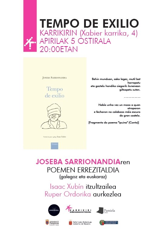#EstaTarde volven unirse @isaacxubin e #RuperOrdorika para recitar, cantar e homenaxear a obra de #JosebaSarrionandia Galardoada co #PremioEtxepare de tradución #TempoDeExilio é a antoloxía que recolle #engalego #euskara poemas seleccionados polo autor 🎥https://bit.ly/2CVHZgA