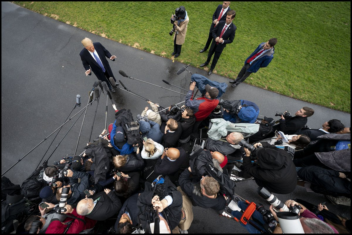 .@realDonaldTrump answers questions from the media as he departs the White House for a West Coast trip.