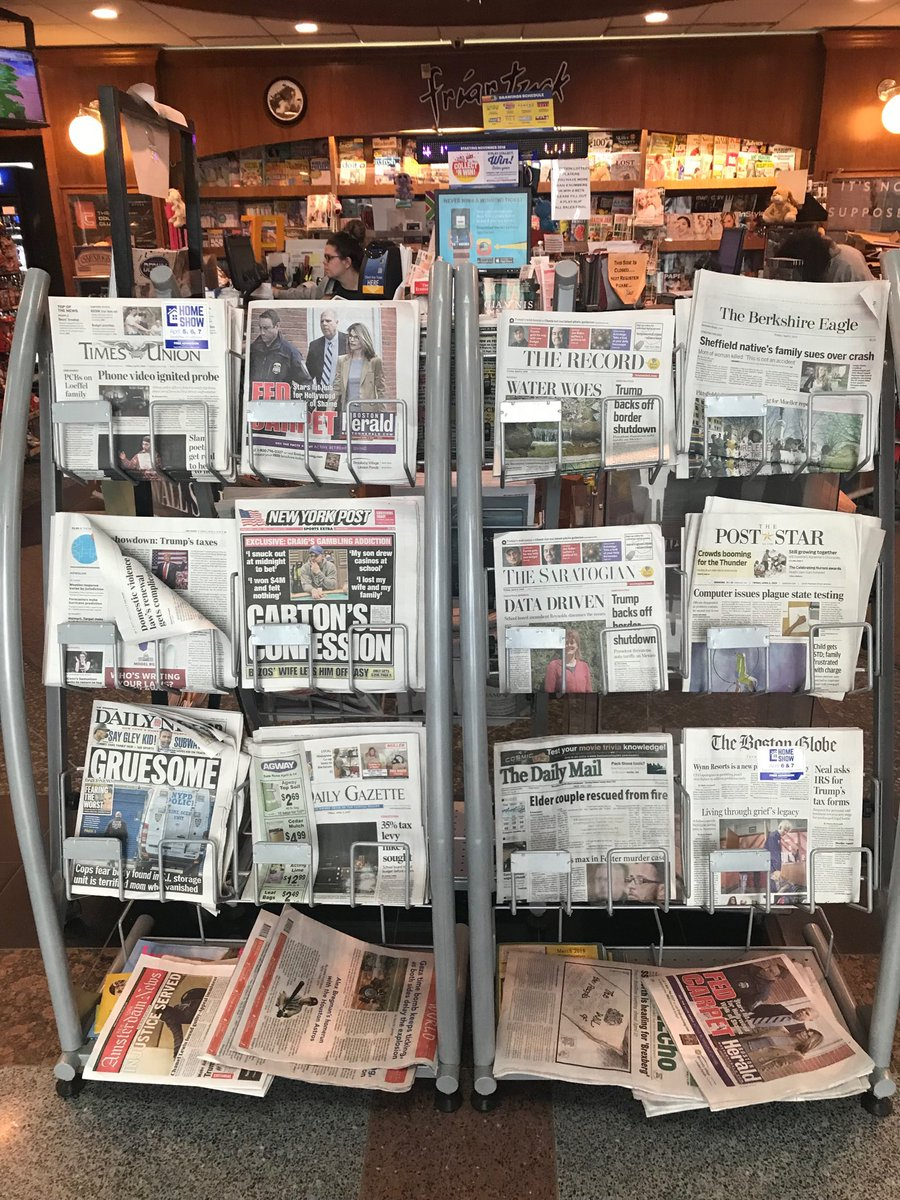 Print sure isn't dead at the Albany NY train station. Nearby racks also have @WSJ and @nytimes.