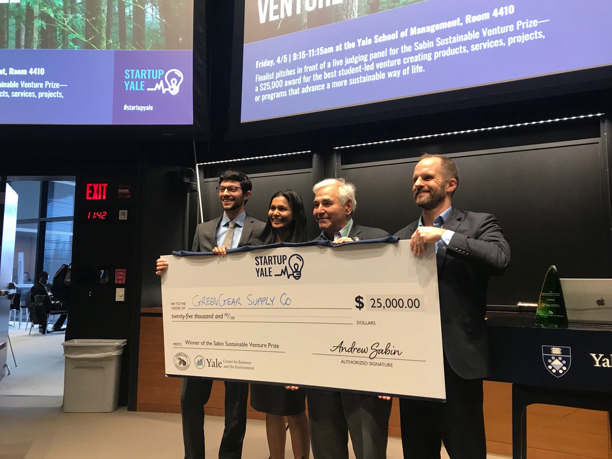 Green Gear Supply Company takes the $25,000 Sabin Sustainable Venture Prize! Congratulations!! Thanks to all for coming....standing room only today, which shows the excitement + interest in #sustainableventures #StartupYale @YaleSOM @YaleFES @YaleSOMVentures @TsaiCITY