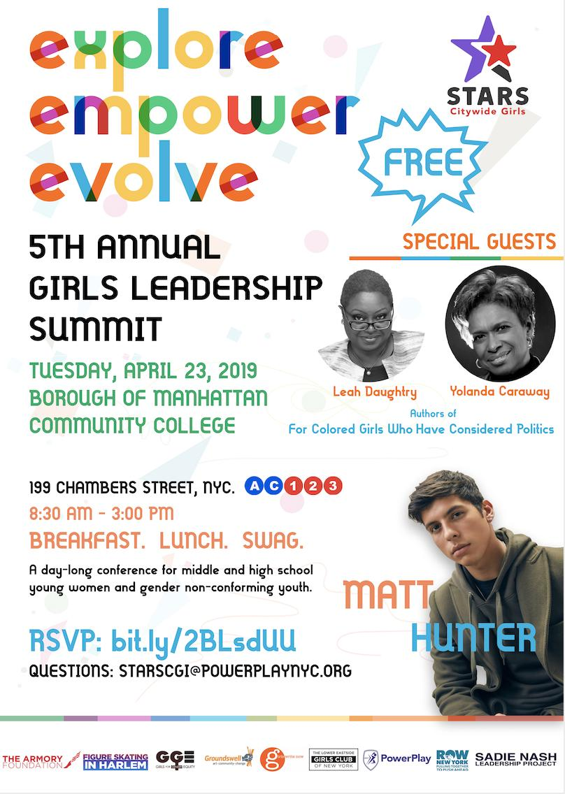 Calling all middle-school and high-school NYC girls and GNC youth!   #STARSCGI Leadership Summit - Tues. April 23 RSVP https://t.co/kQZp8oeowd https://t.co/z098PYG4fb