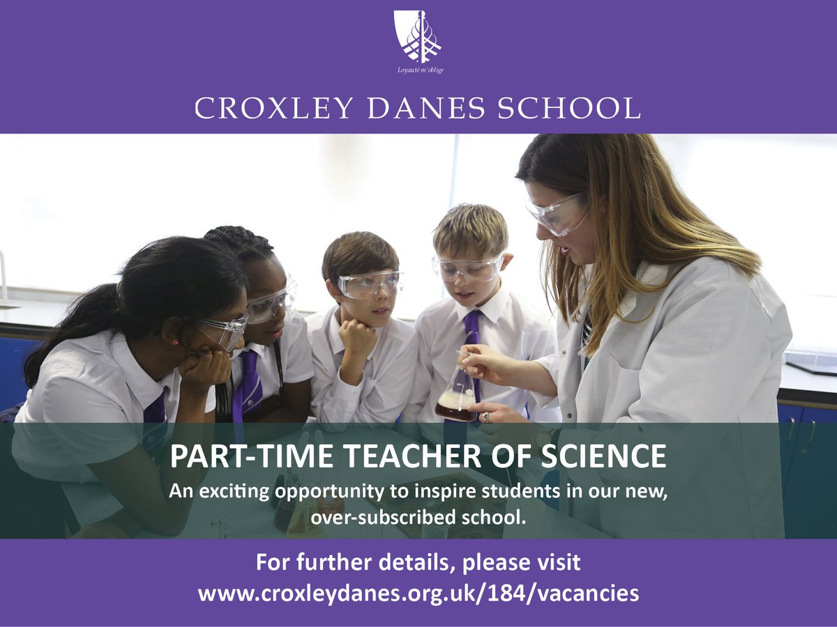 Exciting opportunity for a part-time teacher of Science at our new, oversubscribed school. Great staff team, fantastic students. Moving to a brand new building next year. Come and join us! Details: https://t.co/V37f2G2m24 #teachingvacancyuk https://t.co/10NzP4WMU1
