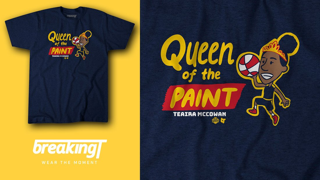🚨 NEW 🏀 SHIRT 🎨 ALERT! 🚨  @Teaira_15 is Indiana's new queen of the paint. #WearTheMoment  Licensed by @TheWNBPA | Available now: https://breakingt.com/products/queen-of-the-paint…
