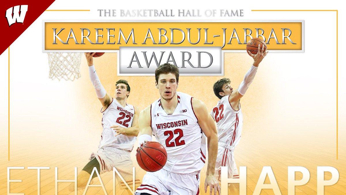 Wisconsin Badger  All-Big Ten. All-American.  Best center in college basketball  Ethan Happ wins the Kareem Abdul-Jabbar Award! #OnWisconsin