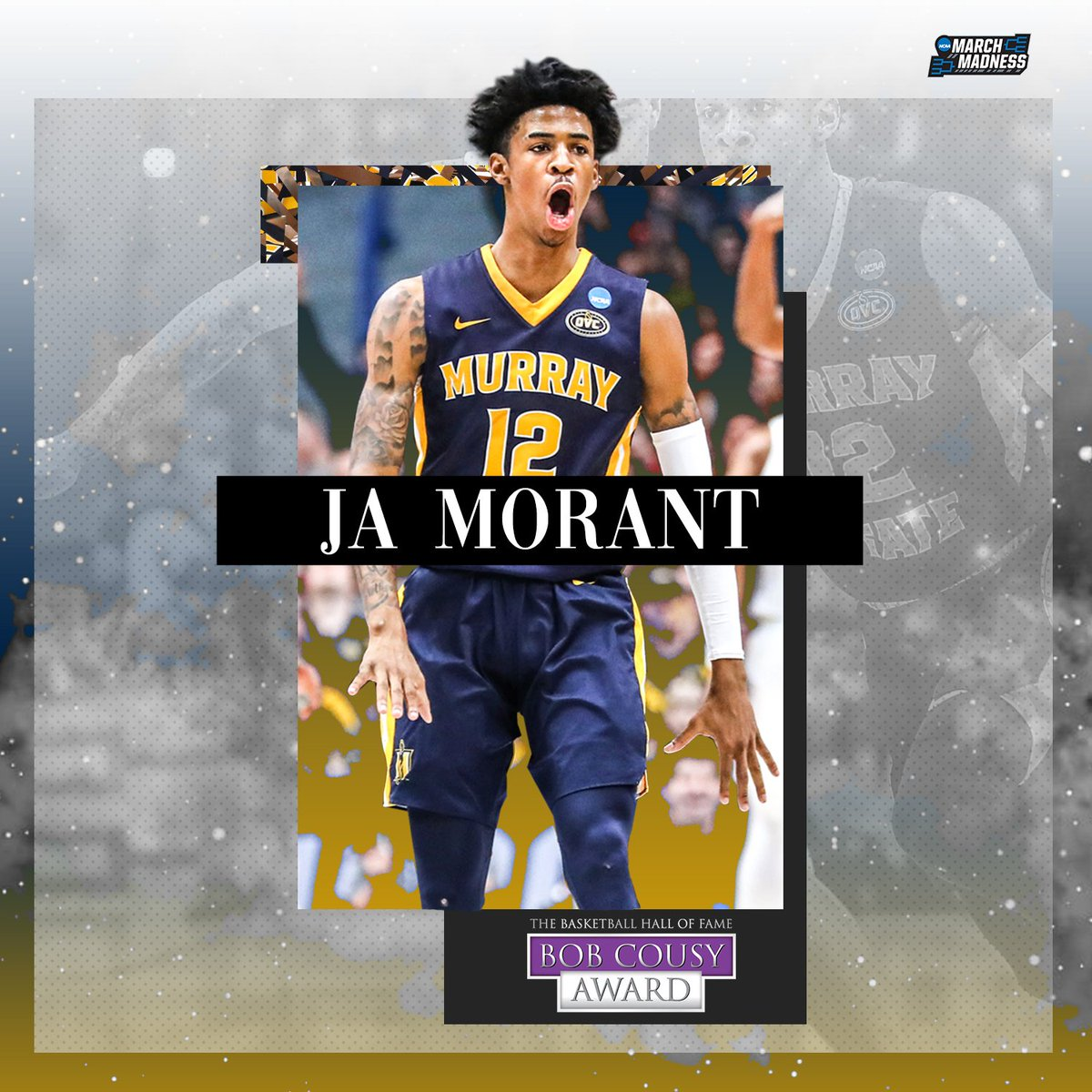 The ultimate floor general.  Congrats to Ja Morant on winning the #CousyAward, awarded to the top point guard in the country! 👏