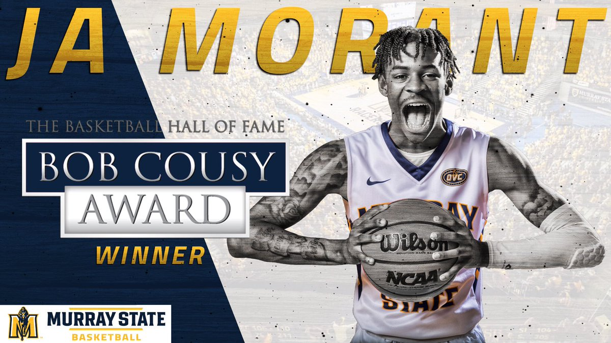 Ja Morant (@igotgame_12) wins the Bob Cousy Award! This honor goes to the top point guard in college basketball. Congratulations, Ja!