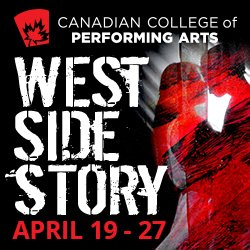 The @CCPACanada production of #WestSideStory opens in two weeks and tickets are going fast! Over 55 students will take the stage to bring this historic show to life.  Save Up To 32% by purchasing Vouchers in person at the College! Info at http://www.ccpacanada.com/west-side-story/…