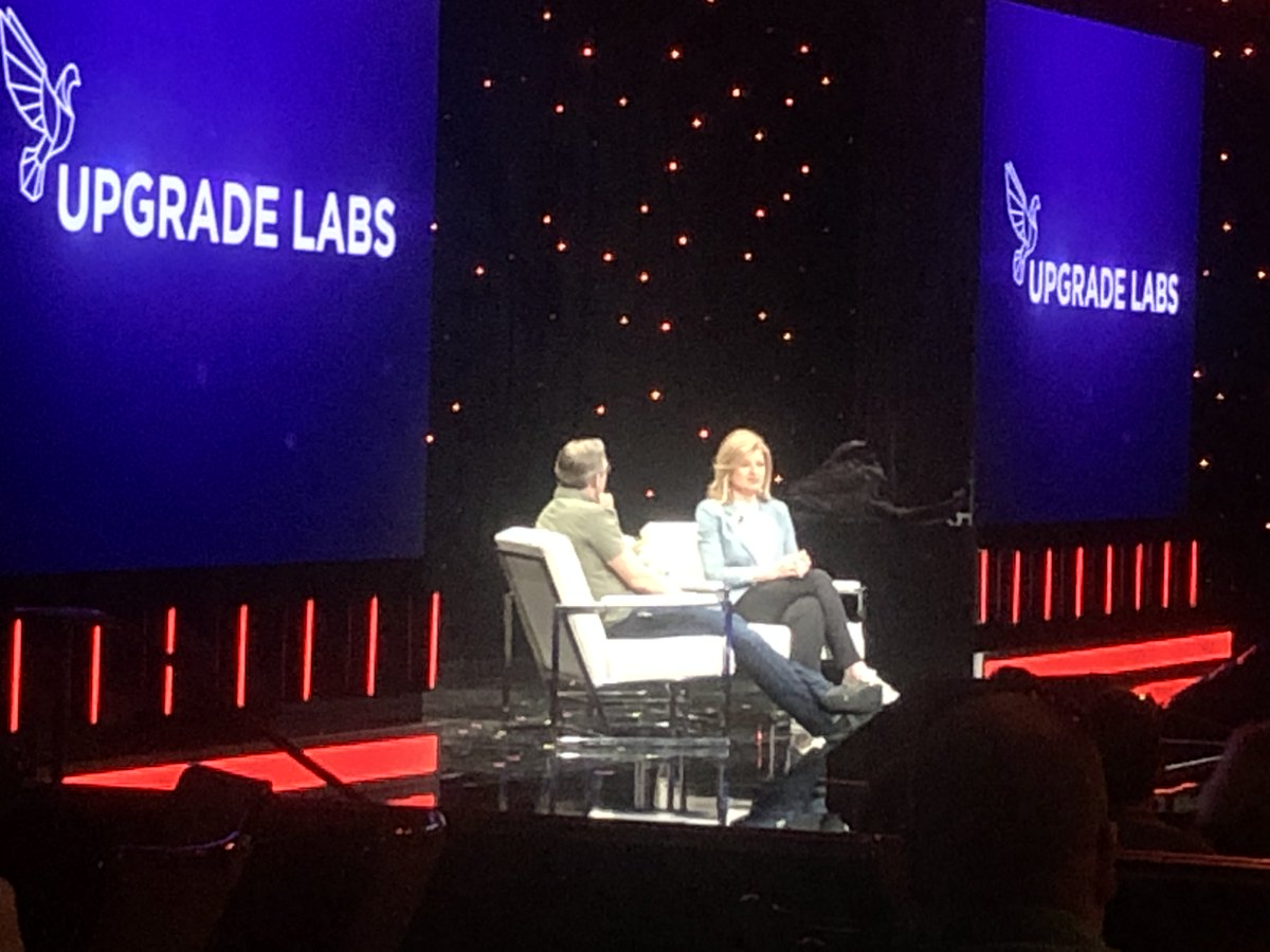 """Arianna Huffington and Dave Asprey at the annual #biohacking conference """"My mission is to wake up the world to the importance of #sleep...""""  @ariannahuff #health #wellness #technology #happiness #gratitude #joy #energy #longevity @beverlyhilton @theupgradelabs @bulletproofexec"""