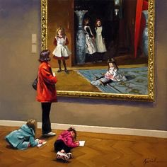 While most people visit museums and simply enjoy art, Karin Jurick is studying the whole scene.  She takes her camera and captures photos of museum visitors absorbed in the paintings (always famous paintings) and and then she paints it ...  I love her work.  Excuse my English.