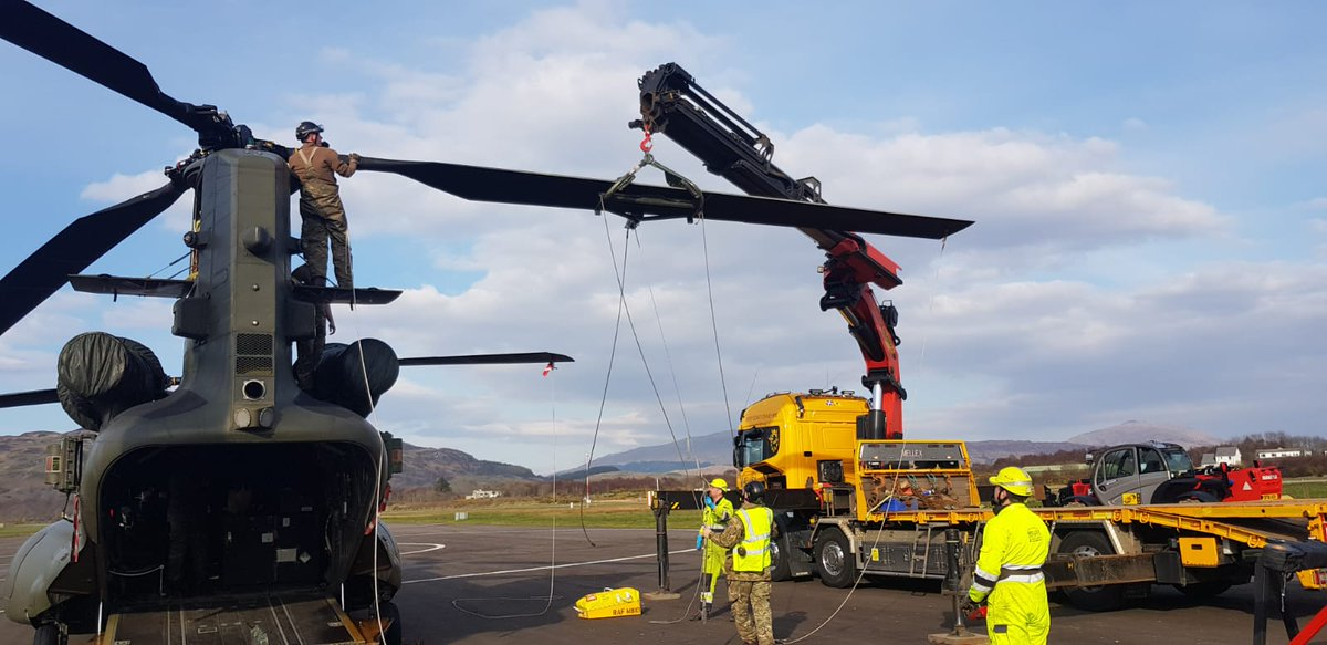 Amazing work by our engineers today. Changing a rotor blade is not an easy task at the best of times, but to do it outdoors at a small Scottish airfield really is impressive. The aircraft can now continue with #JointWarrior tasking tomorrow. Well done guys!