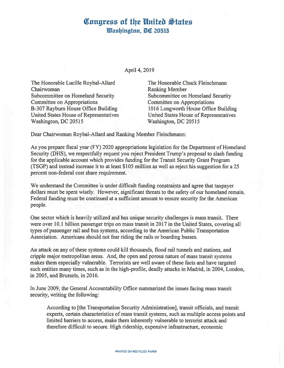 Yesterday, I led 96 of my colleagues in opposing President Trump's latest budget which slashes transit security funding. The President's plan to gut funding for transit security puts ALL Americans at risk.  https://swalwell.house.gov/sites/swalwell.house.gov/files/TSGP%20-%20FY%202020.pdf…
