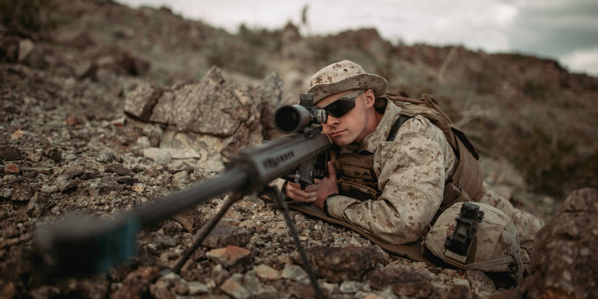 On Sight   A scout sniper candidate Lance Cpl. Nathan Voyles with @1st_Marine_Div, looks down the scope of an M82 Special Applications Scoped Rifle during a live-fire exercise @CombatCenterPAO.