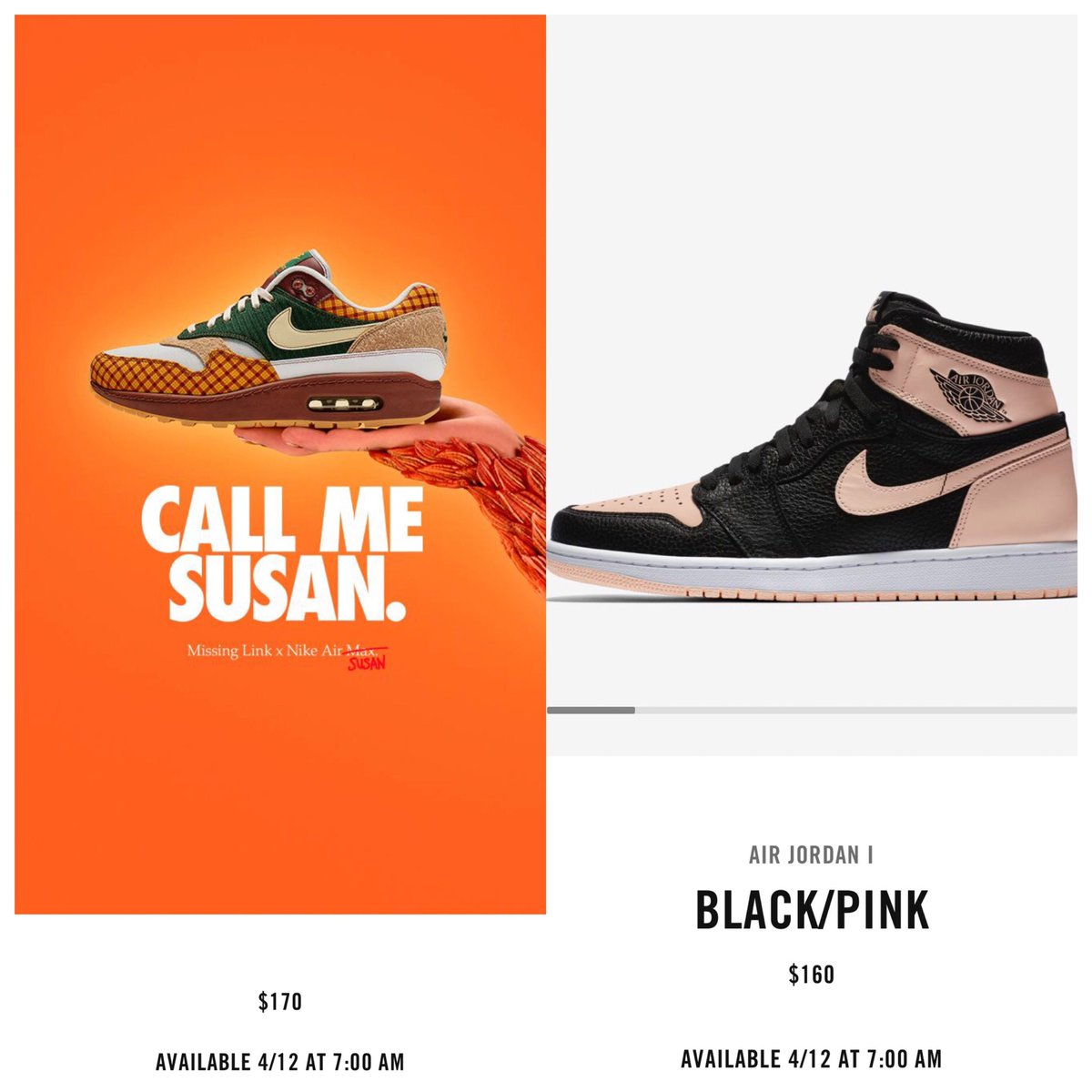 the best attitude 709cc e147d Release Update  Nike Air Max Susan  Missing Link  and the Jordan Retro 1   Black Pink  now releases April 12th via SNKRS AM Susan  https   bit.ly 2FRsBme J1 ...