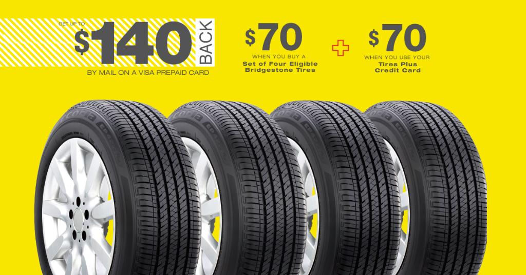 Tires Plus Total Car Care, Eligible Bridgestone Tires Plus An Additional 70 Back When You Use Your Tires Plus Credit Card Offer Valid Now Through 5 6, Tires Plus Total Car Care