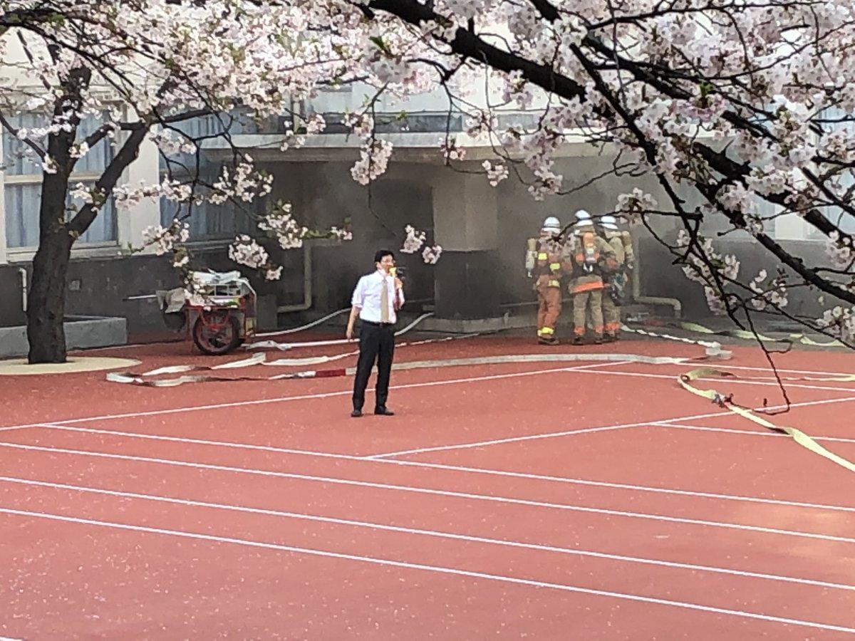麻布学園で火事が起きている現場画像