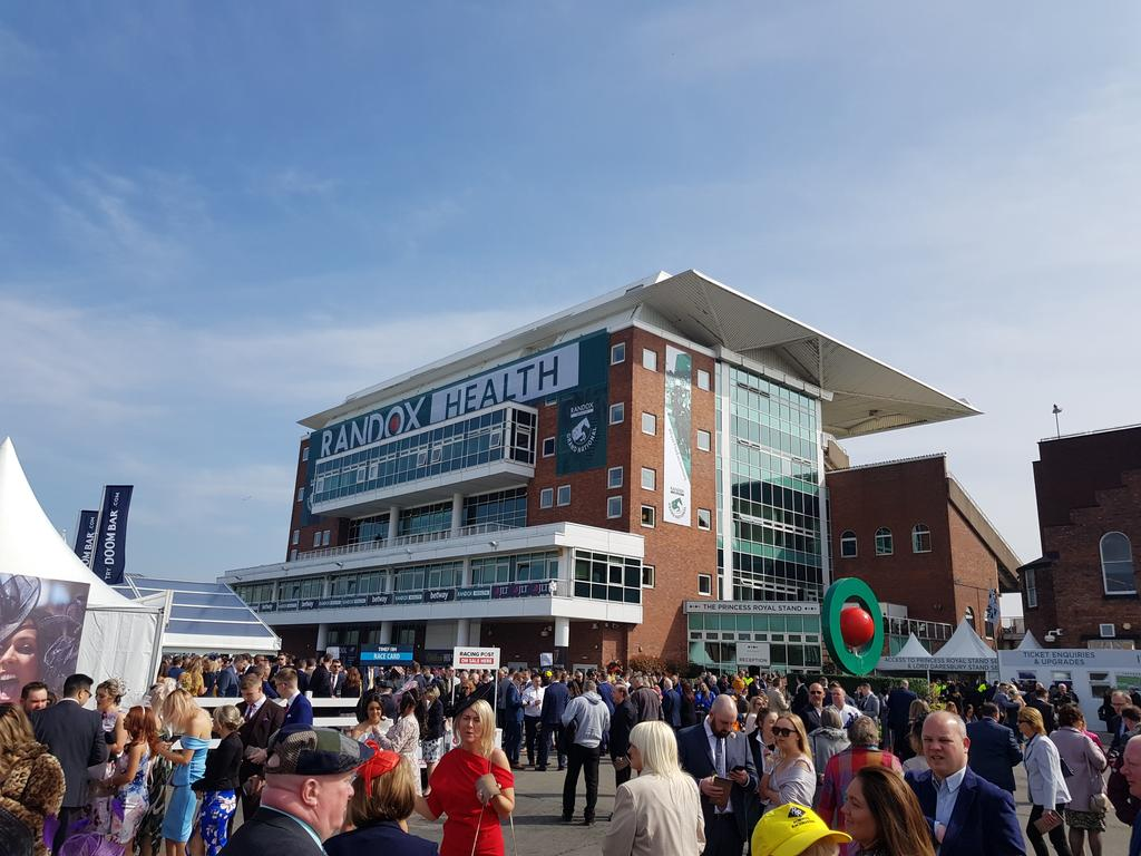 """""""Sniffer dogs are in operation. Please make use of the drug amnesty bins available."""" Lots of people turning round to go home. Welcome to the Grand National."""