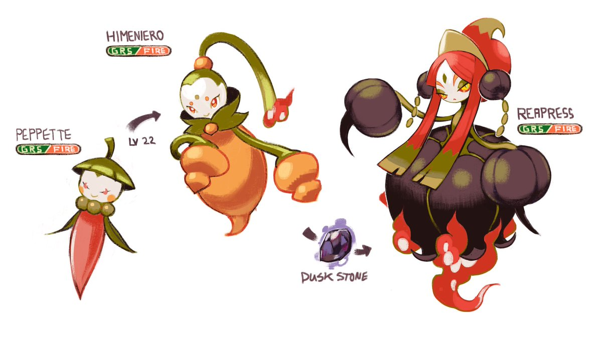 I can't believe I forgot to post this! My dad grows ghost and reaper peppers in the summer and it inspired me to make a pepper themed Pokémon queen line ❤️ 🔥