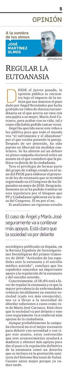 Soy partidario de regular la eutanasia en España cuanto antes. La sociedad va por delante #LeyEutanasiaYa