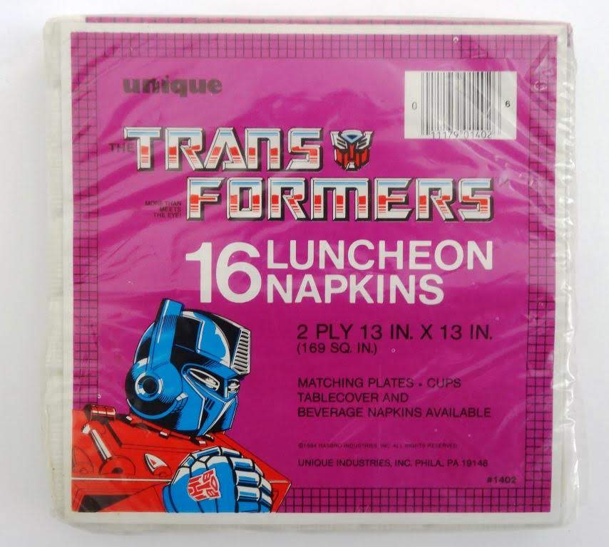 Optimus Prime, dominating the napkin market in 1984 and 1985. Unique Industries. #g1transformers #optimusprime #transformers
