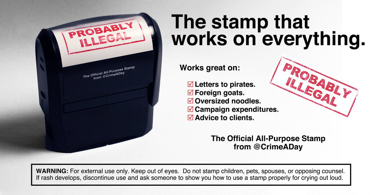 Giving away 4 of these indispensable @CrimeADay stamps.  RT before this Monday at noon EST to enter.  It's a perfect complement to your copy of HOW TO BECOME A FEDERAL CRIMINAL, which you can preorder here: https://amzn.to/2YRlWkw