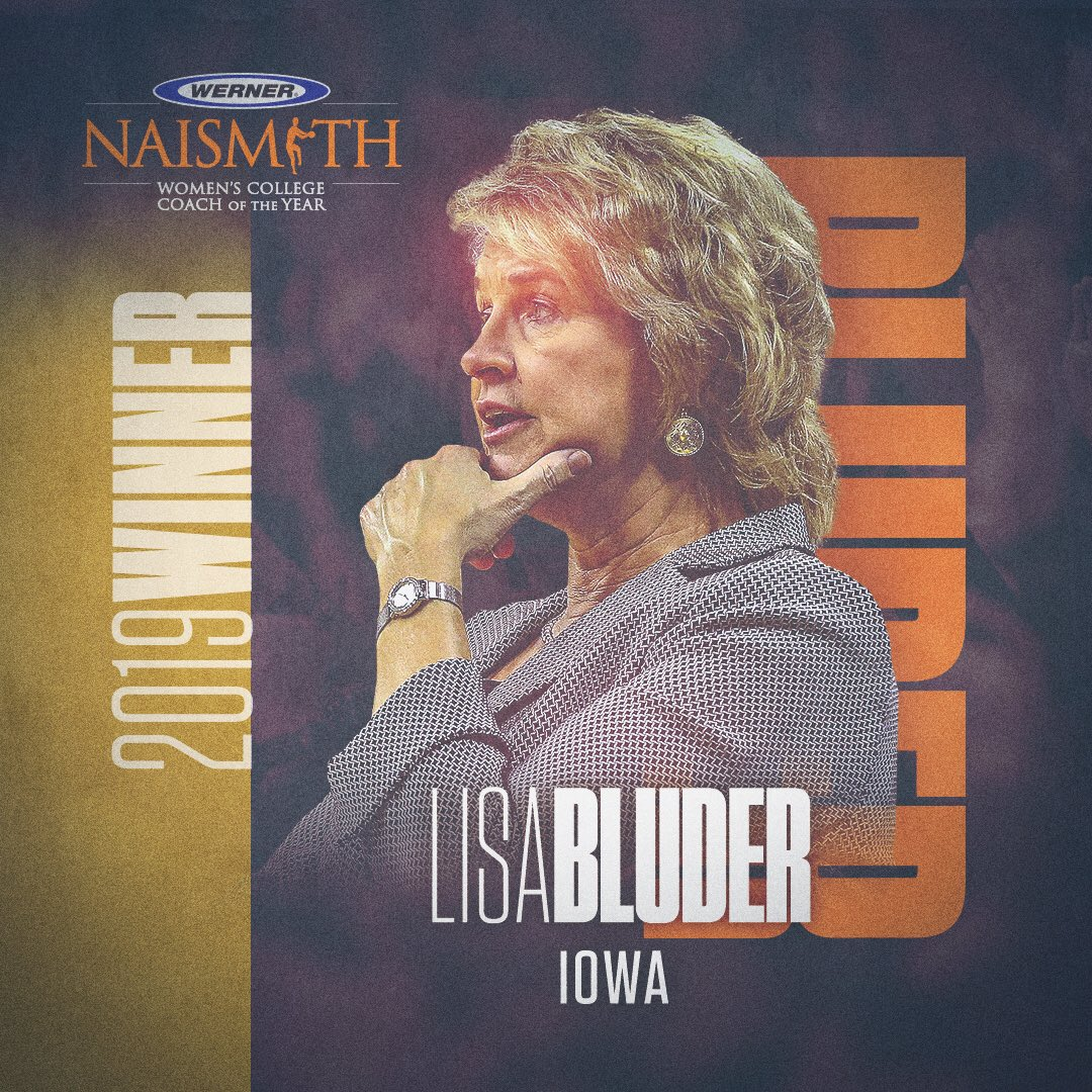 It's official…..The 2019 @wernerladderco Naismith Women's Coach of the Year is @LisaBluder. She is the second coach in @IowaWBB history to win the award. Full release > http://bit.ly/2YRhP84 #Hawkeyes #FightForIowa