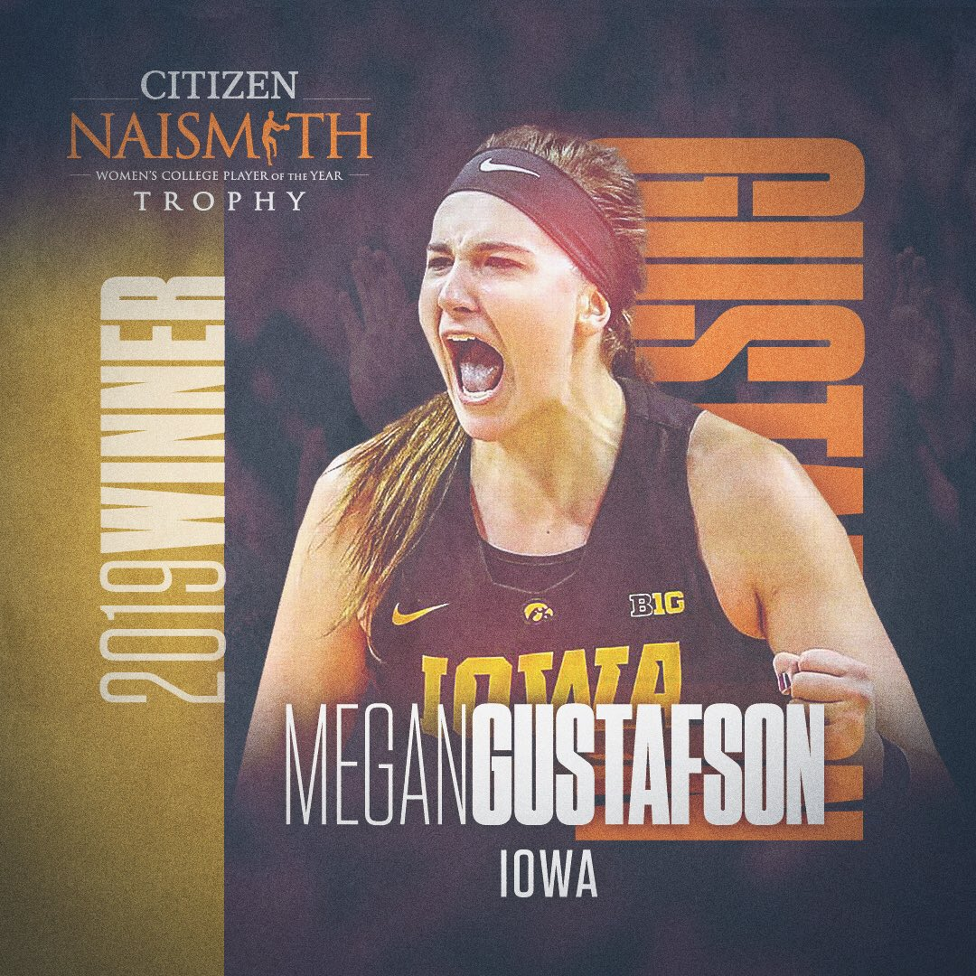 It's official…..The 2019 @citizenwatchus Naismith Women's Player of the Year is @GustafsonMeg10. She is the first player in @IowaWBB history to win the award. Full release >  http://bit.ly/2YRhP84 #Hawkeyes #FightForIowa