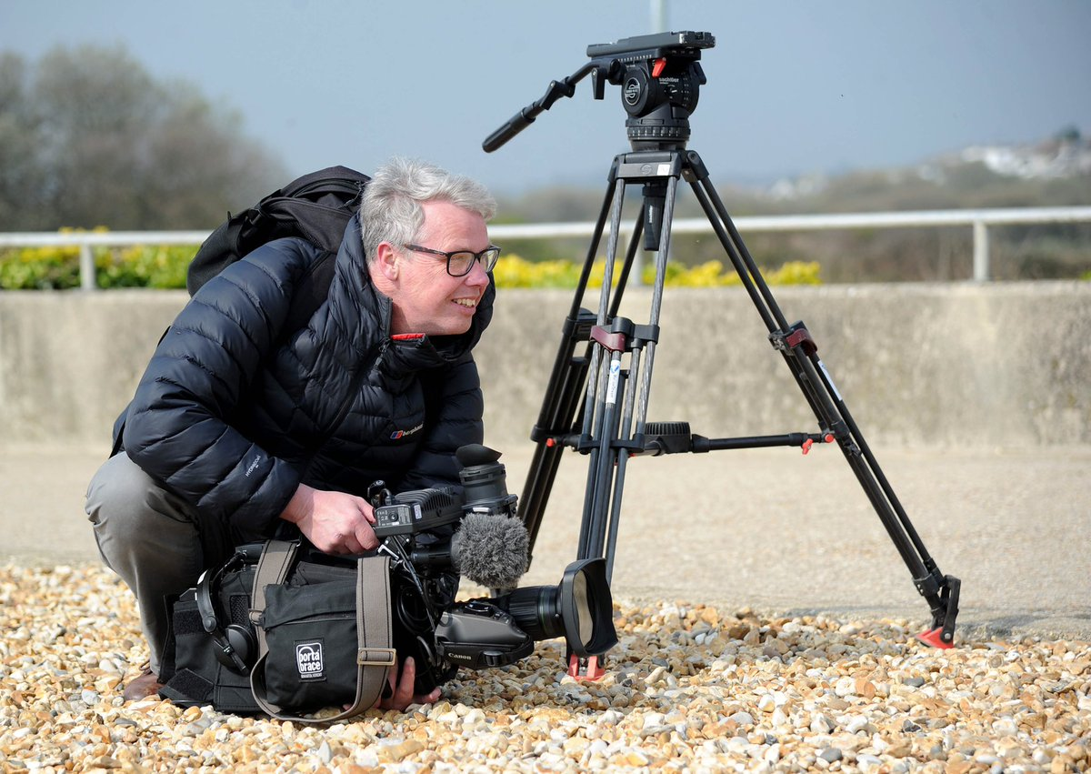Thanks to @finnbarrw for this shot, while out filming for BBC today. #camerman #inaction #working #dorset #sunshine #april #broadcast #tv #news #devon #somerset