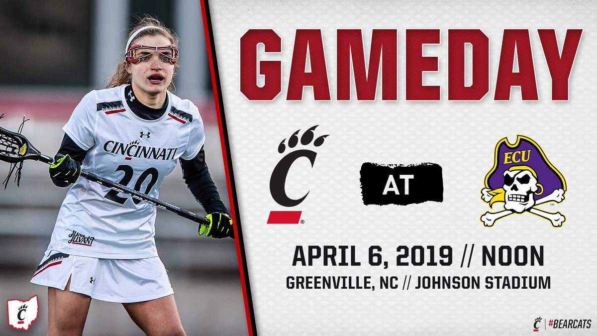 It's our first @AmericanWLAX Road #GAMEDAY!  🥍 #Bearcats 🆚 @ecuwlax 🏴☠️ ⏰ Noon  📍 Greenville, NC 📊 http://bit.ly/2UhRNMB  📺 http://bit.ly/2D01bJY (on the @American_DN)  #AmericanWLAX