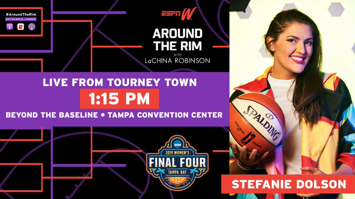 Join #AroundTheRim for our LIVE pod 🎙 from Tourney Town at Beyond the Baseline feat. @wnbachicagosky @bigmamastef TODAY!!!    🔥🏀 #WFinalFour  #ncaaw
