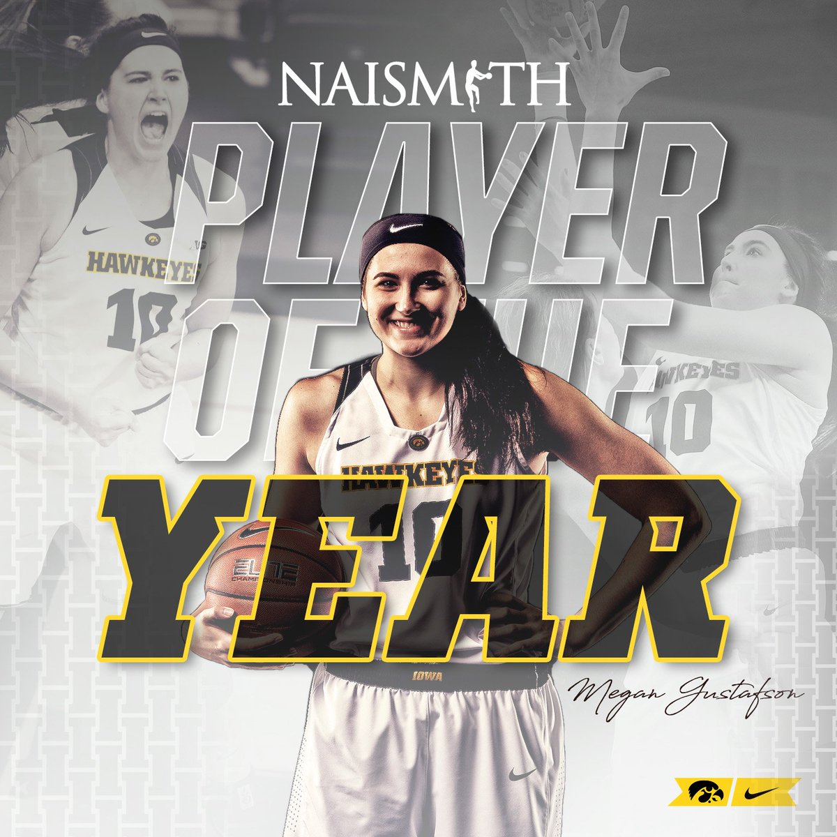 PLAYER OF THE YEAR. PLAYER OF THE YEAR!   @GustafsonMeg10 is the 2019 Citizen Naismith Trophy winner! #Hawkeyes #FightForIowa