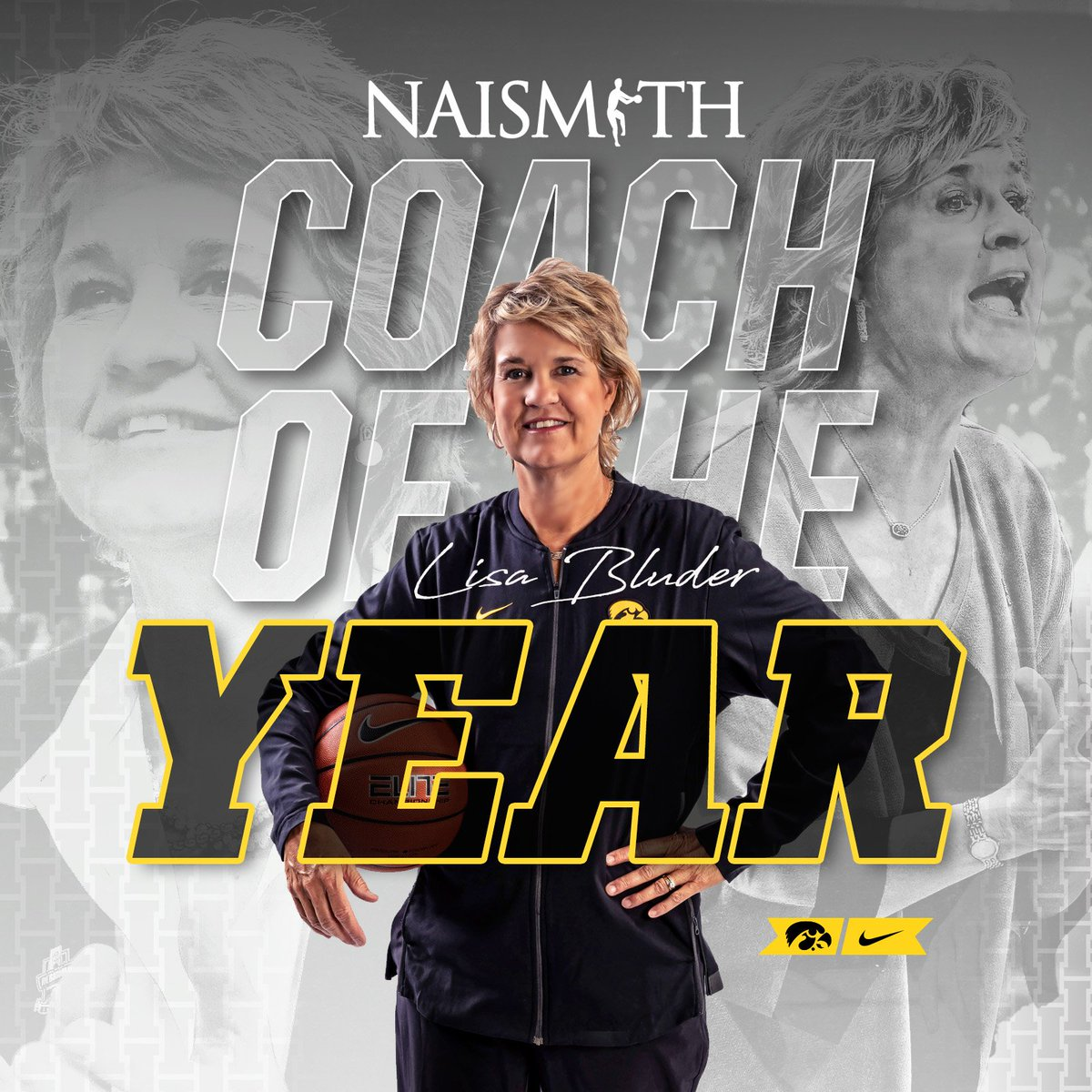 IT'S A HAWKEYE SWEEP!   @LisaBluder is the Werner Ladder Naismith Coach of the Year! #Hawkeyes #FightForIowa