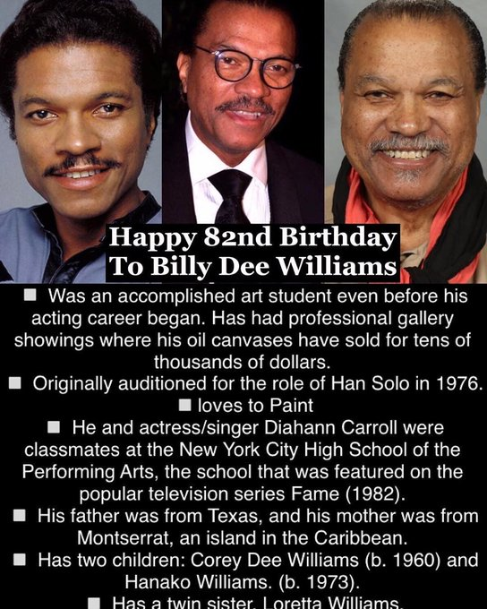 April 6: Happy 82nd Birthday to Billy Dee Williams