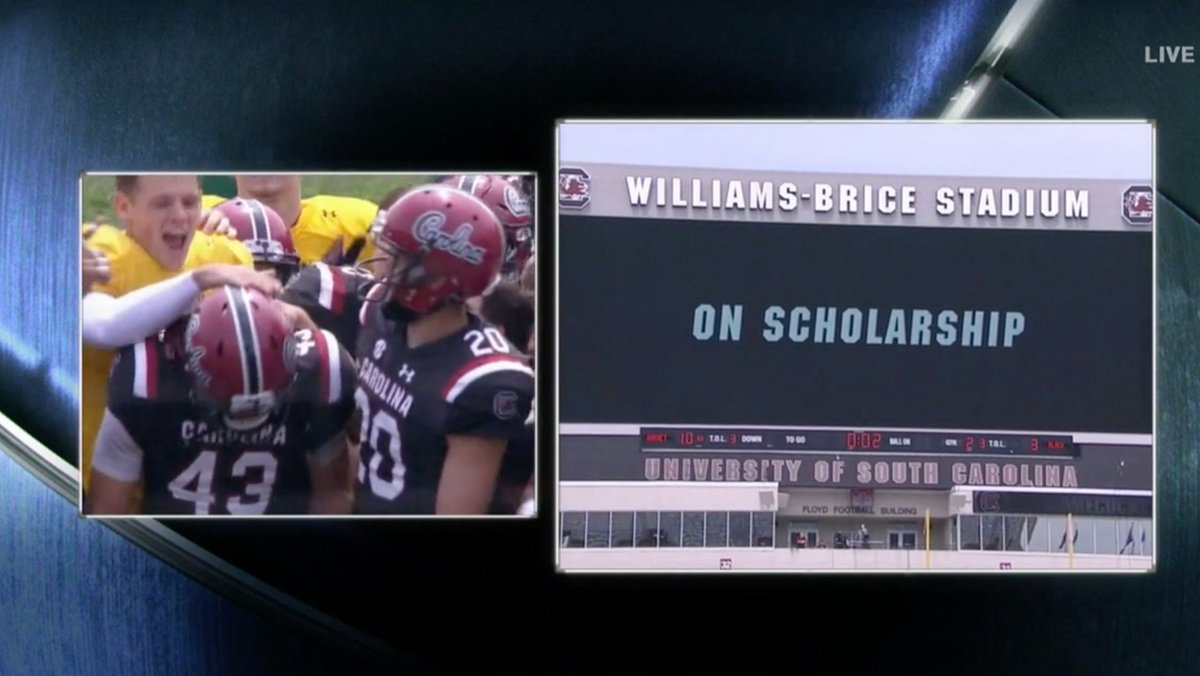Nail the FG ✅ Get a scholarship ✅  Today was a good day for @GamecockFB's Parker White.