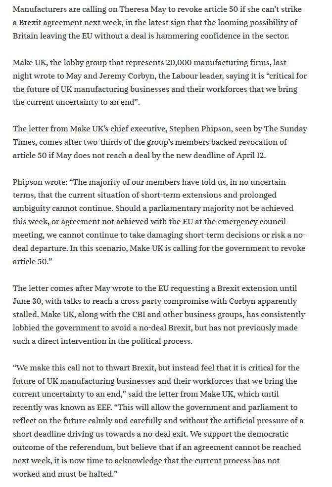 The manufacturers lobby group, @MakeUK_ that represents 20,000 manufacturing firms calls for a #RevokeArticle50 in a letter to @theresa_may if there is no agreed deal by 12th April.  This is after 66% of it's members backed a #RevokeArticle50  Reference: https://t.co/j4Kpthj8RG https://t.co/QOZZPxPBE7
