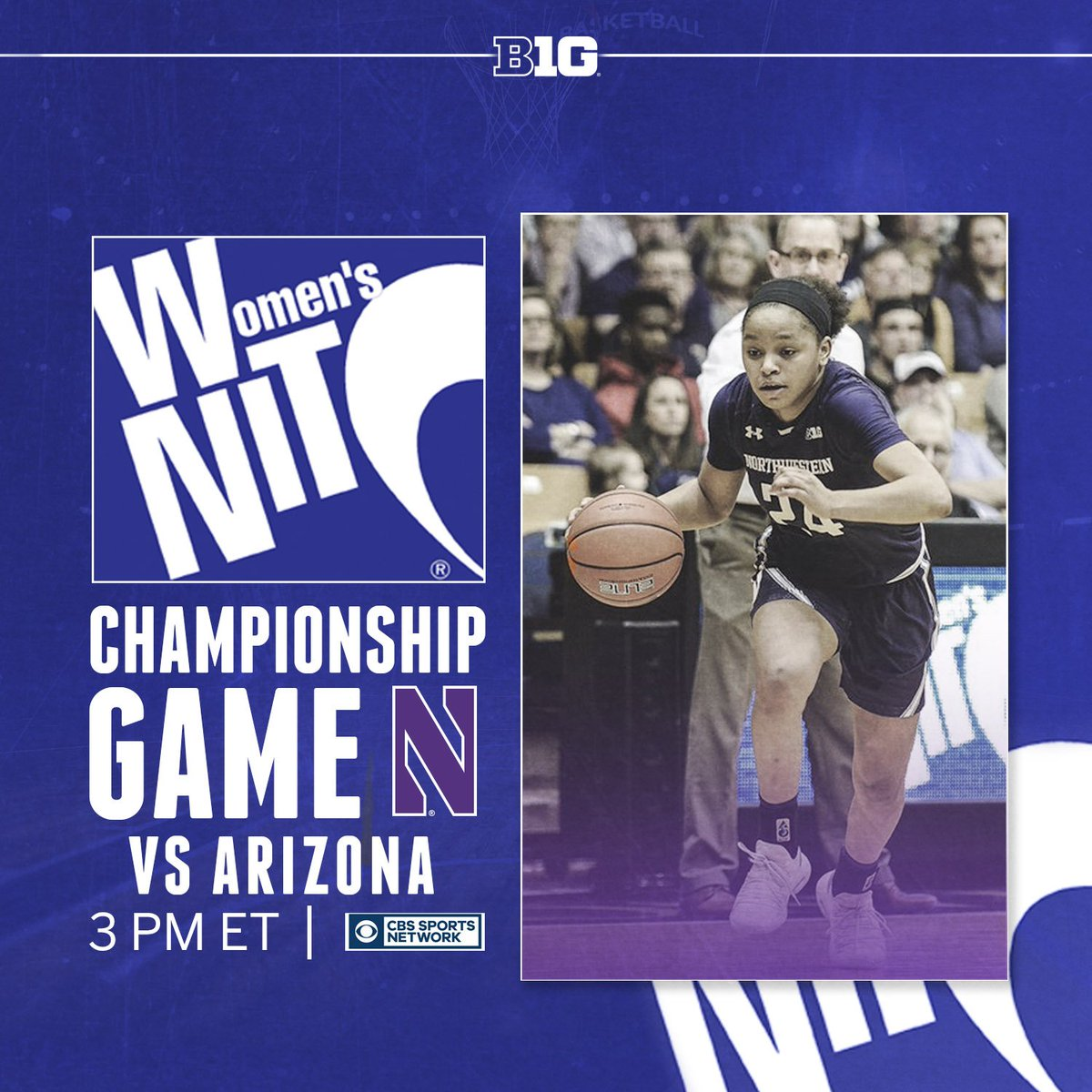 The 2019 @WomensNIT Championship game is underway as @nuwbball takes on Arizona. Tune into @CBSSportsNet to catch all the action.  #B1GWBBall x #WNIT