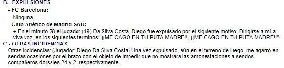 Aquí se refleja, en el acta, el motivo de la expulsión de Diego Costa en el #AtletiBarca