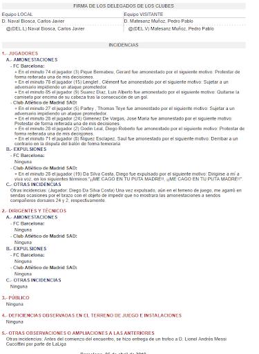 """🔥ACTA ARBITRAL  🔴⚪️Gil Manzano recoge en el acta arbitral que Diego Costa se dirigió a él en los siguientes términos: """"¡¡ME CAGO EN TU PUTA MADRE!! ¡¡ME CAGO EN TU PUTA MADRE!!""""  #AtletiBarça #LaLiga"""