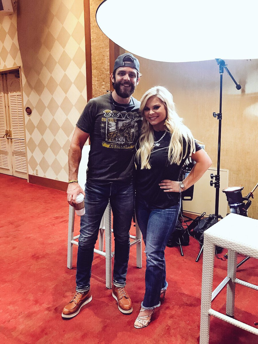 Great to interview @ThomasRhett again today...He's always a pleasure and he could win the @ACMawards Male Vocalist of the Year title this Sunday!