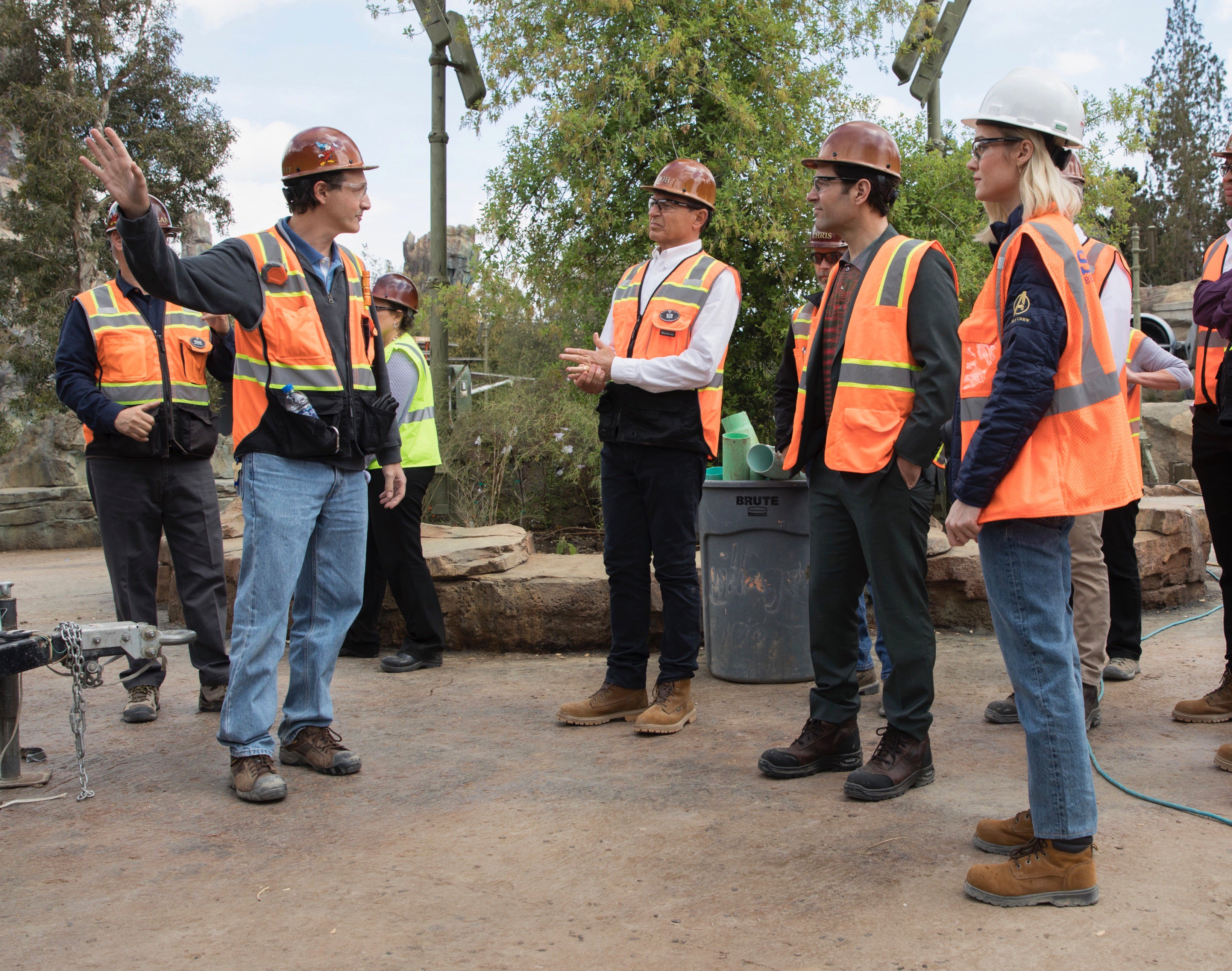 Bob Iger with Actors Paul Rudd and Brie Larson at Star Wars Galaxy's Edge in Disneyland