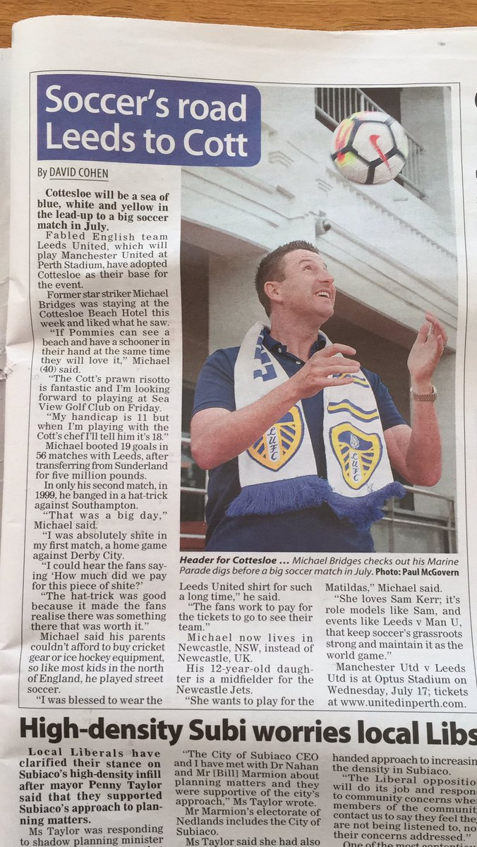 Good lad @MickyBridges8 in our local free sheet promoting  #UnitedInPerth @LUFC and fans HQ @CottBeachHotel
