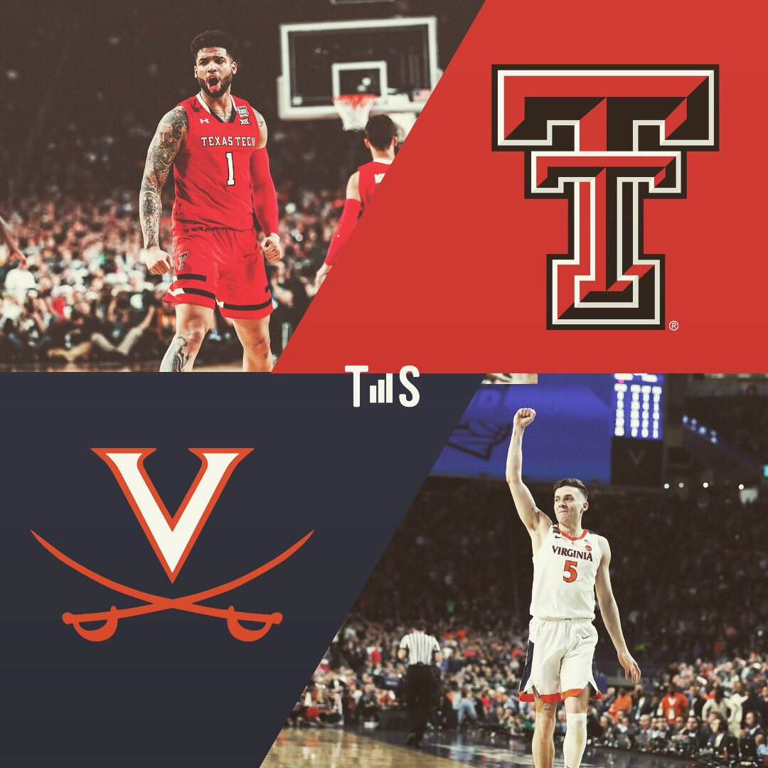 68 to 2. The matchup is set. #4to1 vs #GoHoos Texas Tech. Virginia. For the title. #MarchMadness