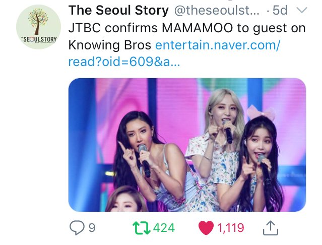 JTBC confirms MAMAMOO to guest on Knowing Bros Tweet added