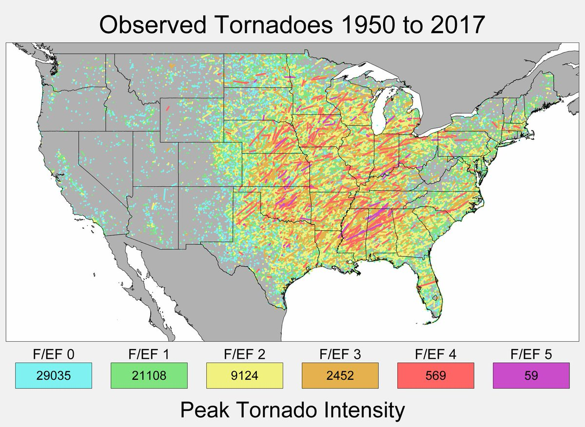 Robert Rohde On Twitter A Map Showing All The Tornadoes Observed - Map-of-tornadoes-in-the-us