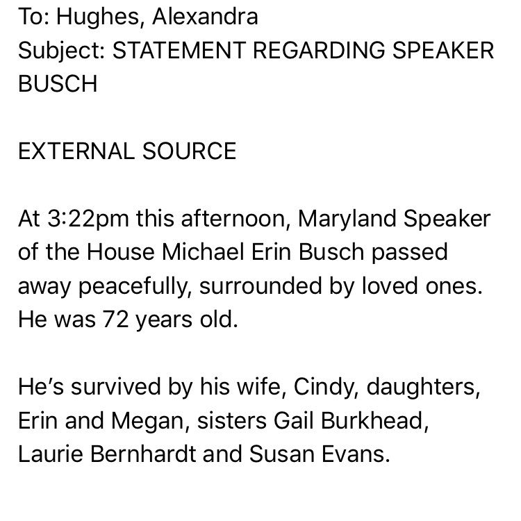 .@SpeakerBusch has died