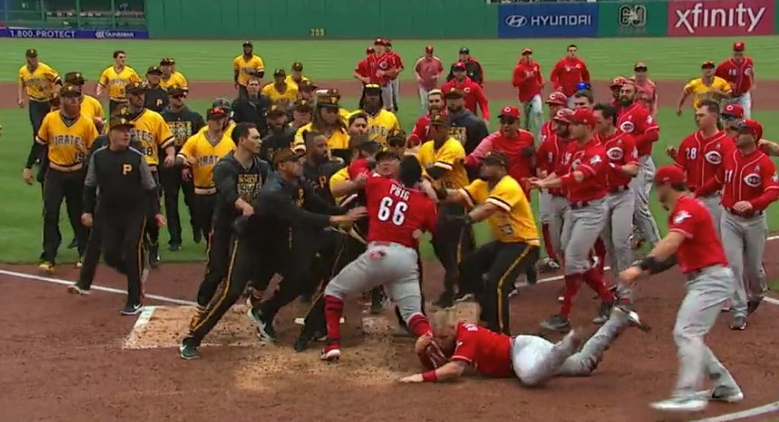 The brawl between the Reds and Pirates produced an image worthy of an art museum